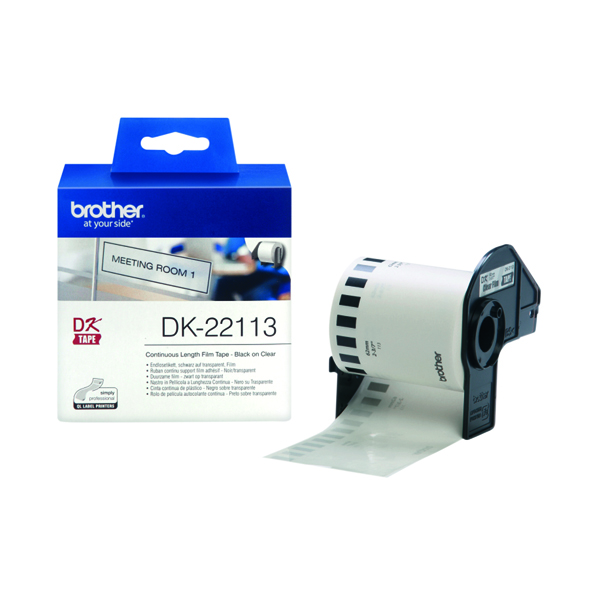 Brother Black on Clear Continuous Length Film Tape 62mm DK22113