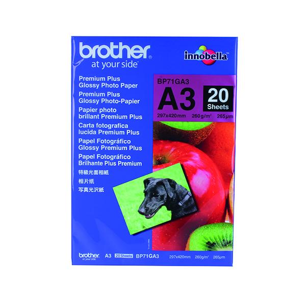 Brother Premium Plus Glossy A3 Photo Paper (20 Pack) BP71GA3