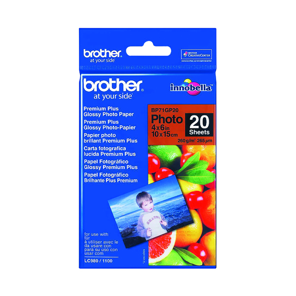 Brother Gloss Photo Paper 4 x 6 Inch (20 Pack) BP71GP20