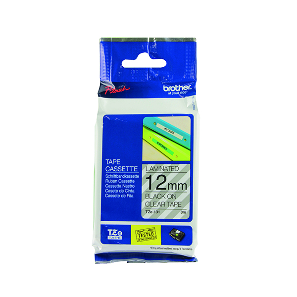 Brother P-Touch TZe 12mm Black on Clear Labelling Tape TZE131