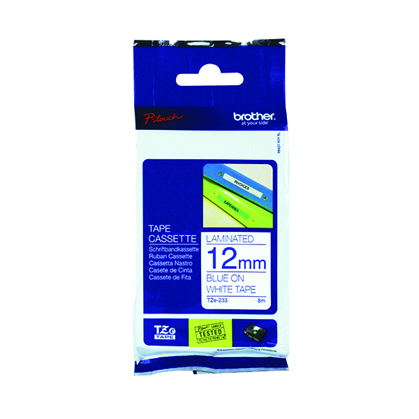 Brother P-Touch TZe 12mm Blue on White Labelling Tape TZE233
