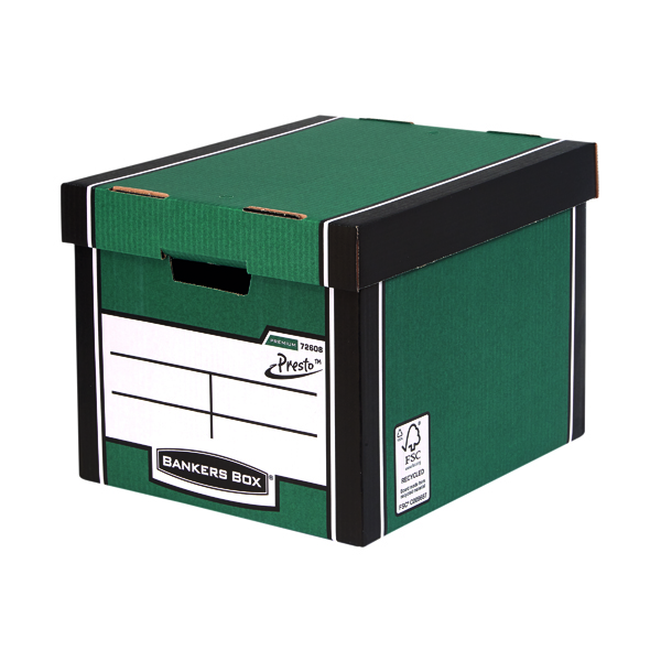 Fellowes Bankers Box Green/White Premium Presto Storage Boxes (10+2 Pack) 7260801