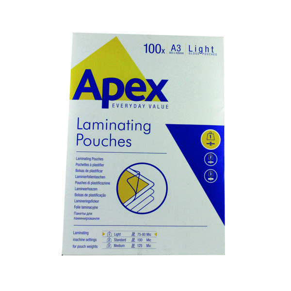 Fellowes Apex A3 Light Duty Laminating Pouches 150 Micron Clear (100 Pack) 6001901