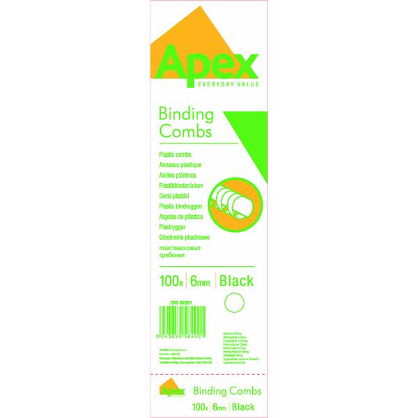 Fellowes Apex 6mm Black Plastic Binding Combs (100 Pack) 6200102
