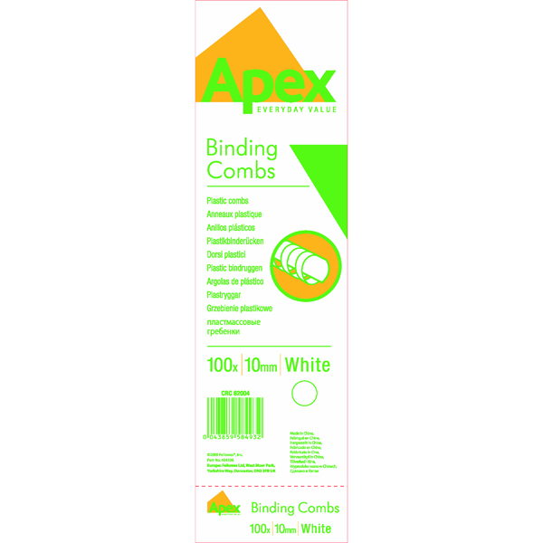 Fellowes Apex 10mm White Plastic Binding Comb (100 Pack) 6200401