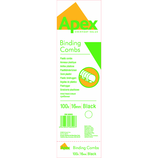 Fellowes Apex 16mm Black Plastic Binding Combs (100 Pack) 6202301