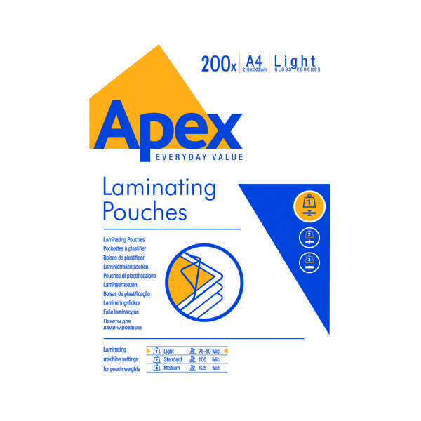 Fellowes Apex Laminating Pouch A4 Light Duty (200 Pack) 6005301