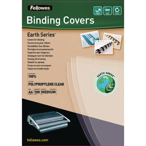 Fellowes Earth Series Polypropylene Clear A4 Binding Cover 200 Micron (100 Pack) 5361401