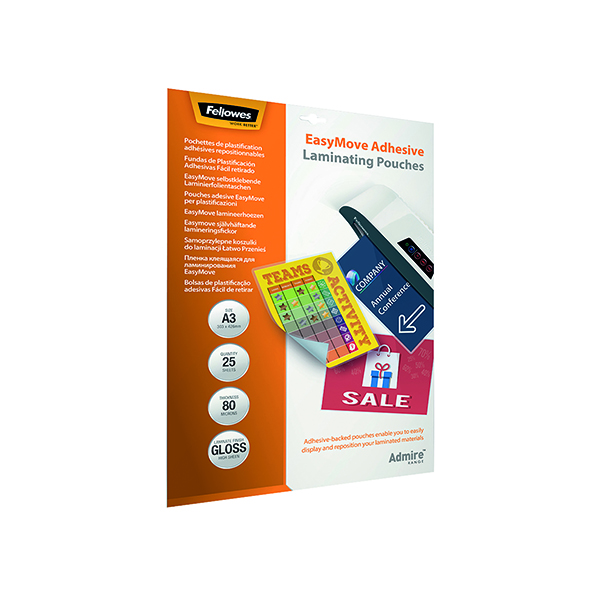 Fellowes Admire EasyMove Adhesive A3 Laminating Pouches 160 Micron (25 Pack) 5601801
