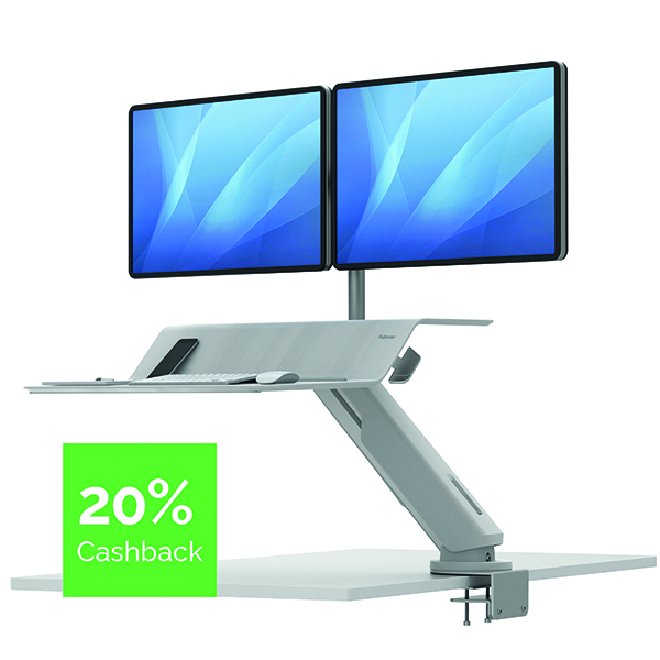 Fellowes Lotus Dual Screen Sit Stand Work Station White 8081801