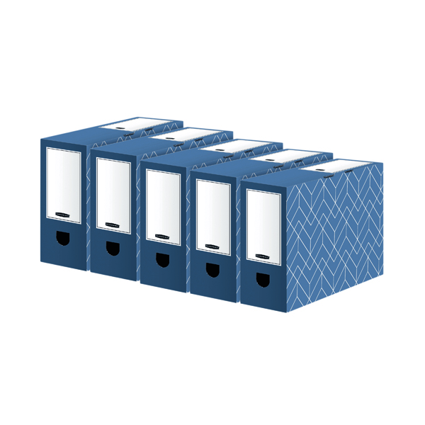 Bankers Box Decor 100mm Transfer File Blue (5 Pack) 4483801