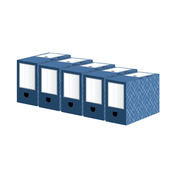 Bankers Box Decor 150mm Transfer File Blue (5 Pack) 4483901