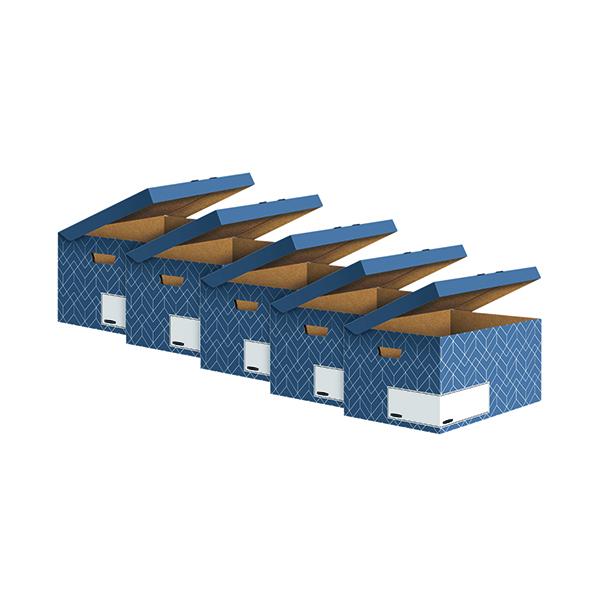 Bankers Box Decor Flip Top Box Blue (5 Pack) 4484101