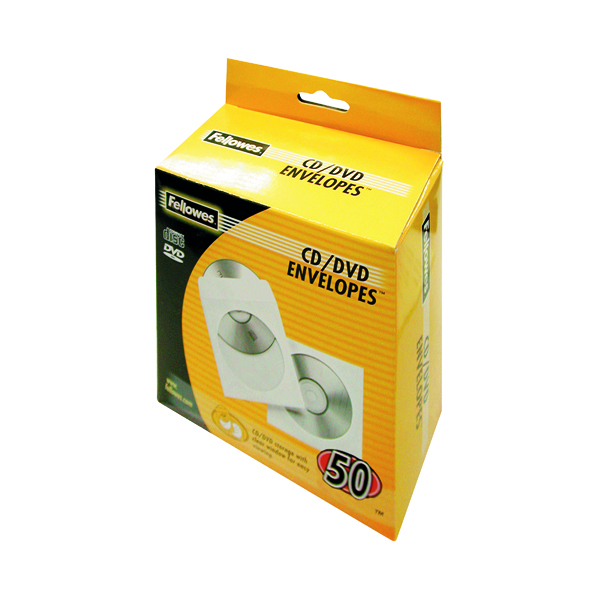 Fellowes CD Envelope White Paper (50 Pack) 90690