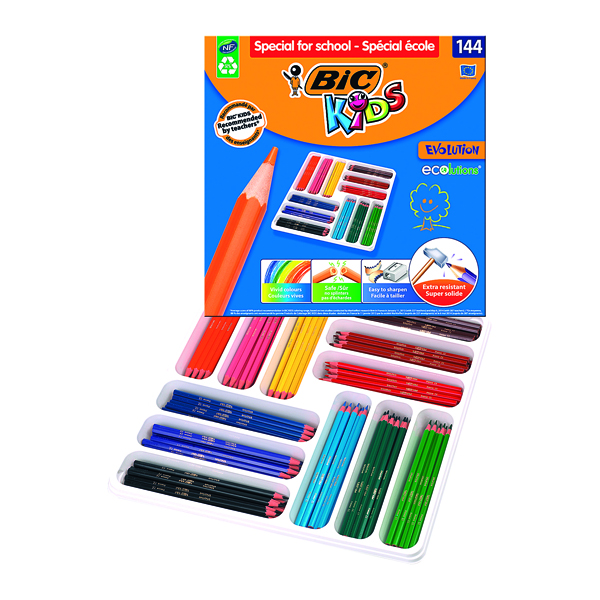 Bic Kids Ecolutions Hexagonal Colouring Pencils Assorted (144 Pack) 887830