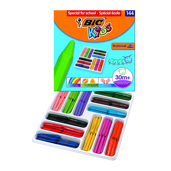 Bic Kids Plastidecor Triangle Crayons Assorted (144 Pack) 887833