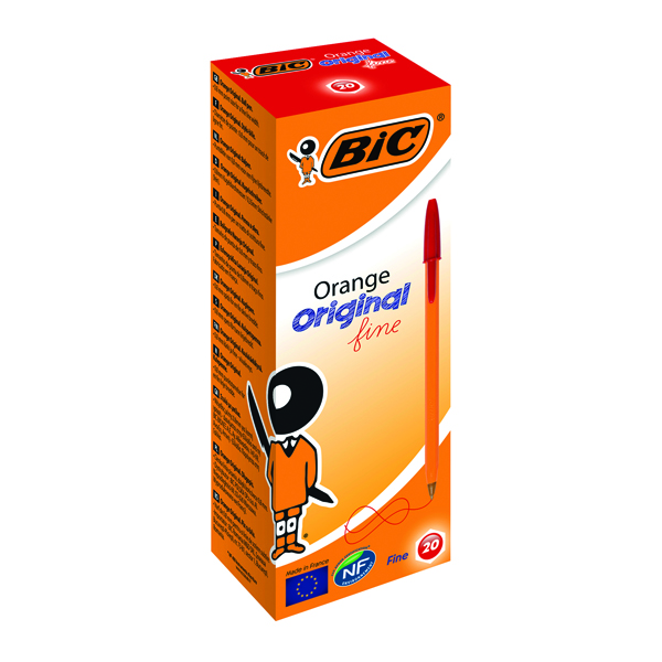 Bic Orange Fine Red Ink Ballpoint Pen (20 Pack) 1199110112