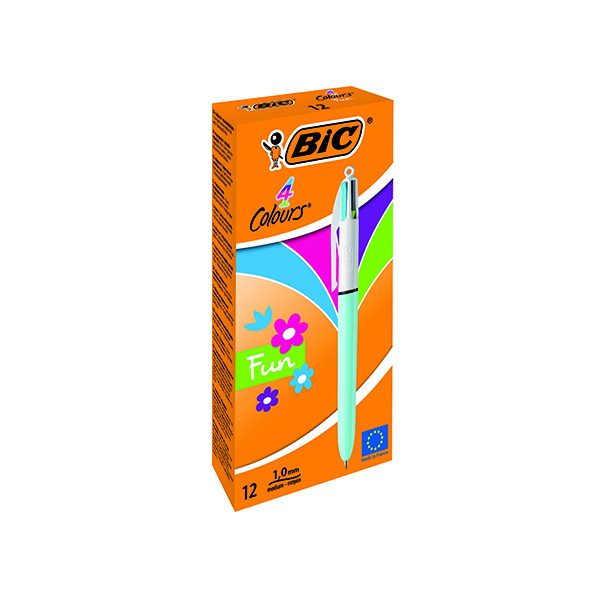 Bic 4 Colours Fun Retractable Ballpoint Pen (12 Pack) 887777