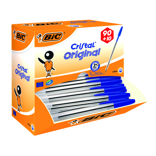 Bic Cristal Medium Blue Ballpoint Pen (100 Pack) 896039