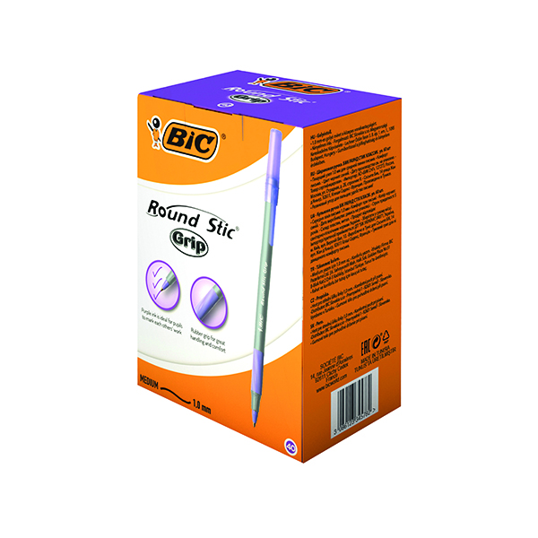 Bic Round Stic Grip Purple Ballpoint Pen Class Pack (40 Pack) 920412