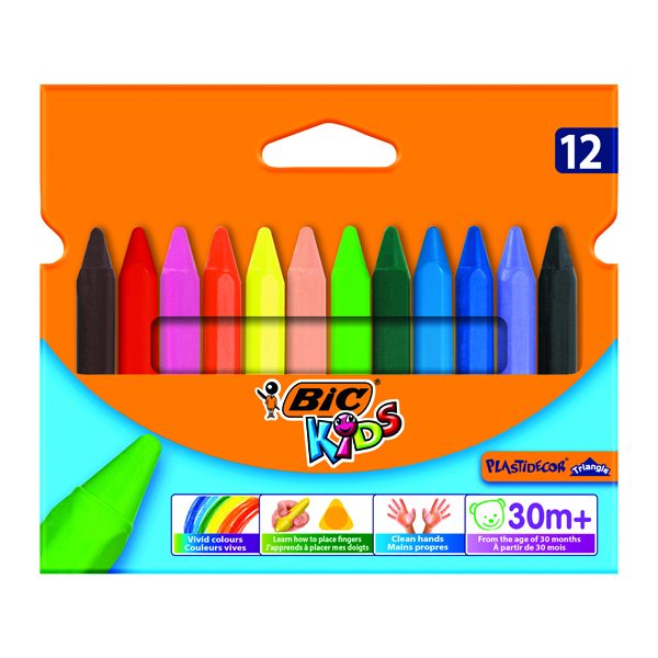 Bic Kids Plastidecor Triangle Crayons Assorted (12 Pack) 829773
