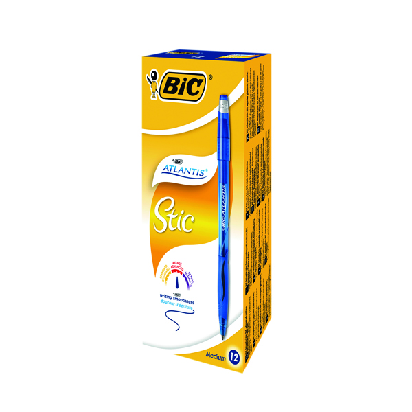 Bic Atlantis Stic Ballpoint Pen Medium Blue (12 Pack) 837387