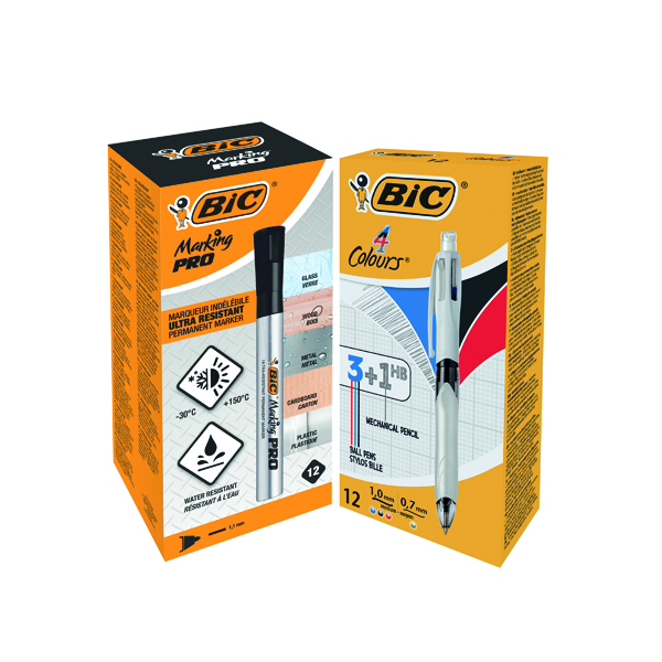 Bic 4 Colours Ballpoint Pen and Pencil (12 Pack) FOC Bic Marking PRO Markers Black Pk12 BC810750