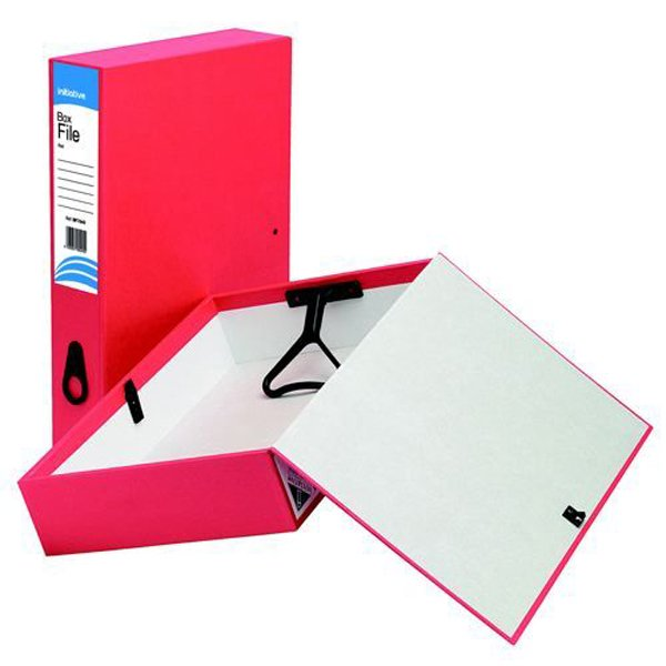 Initiative Lockspring Box File A4/Foolscap 70mm Capacity Red (10 Pack)
