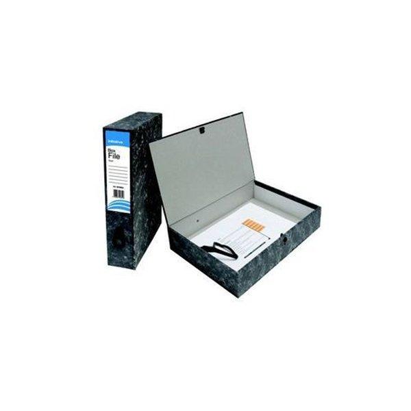 Initiative Lockspring Box File A4/Foolscap 70mm Capacity Black Cloud (10 Pack)