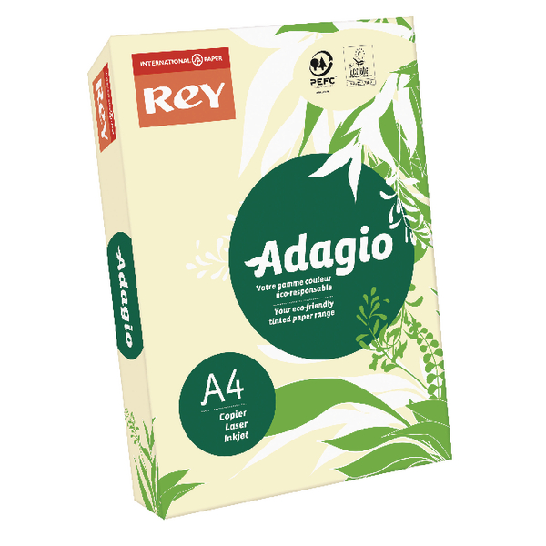 Adagio Pastel Ivory A4 Coloured 160gsm Card (250 Pack) 201.1204