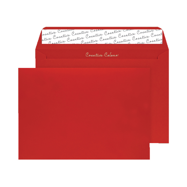 C4 Wallet Envelope Peel and Seal 120gsm Pillar Box Red (250 Pack) BLK93024