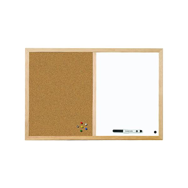 Bi-Office Cork and Drywipe Combination Board 600x400mm MX03001010