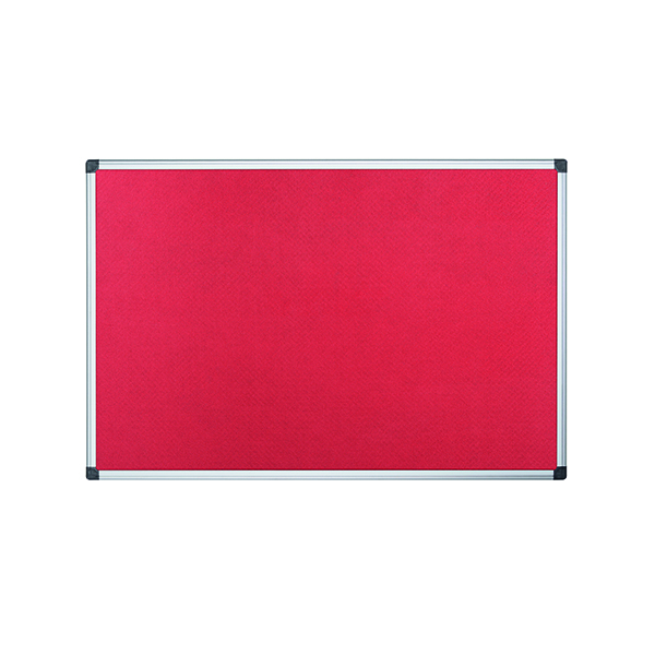 Bi-Office Aluminium Trim Felt Noticeboard 1200x900mm Red FA0546170