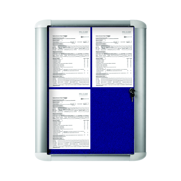 Bi-Office 450x614mm Blue Felt Aluminium Frame External Display Case VT610107760