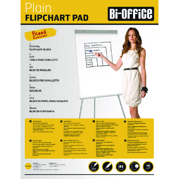 Bi-Office Plain Flipchart Pad A1 40 Sheet (5 Pack) FL0125101