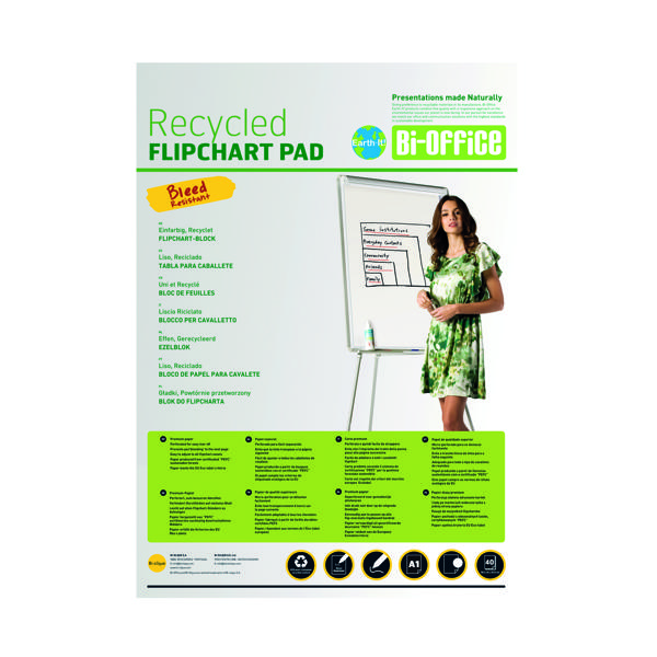 Bi-Office Earth-It Flipchart Pad A1 Plain 40 Sheets 55gsm FL0111801