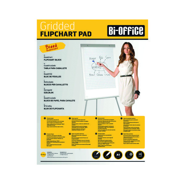 Bi-Office Gridded Flipchart Pad A1 40 Sheet (5 Pack) FL012301