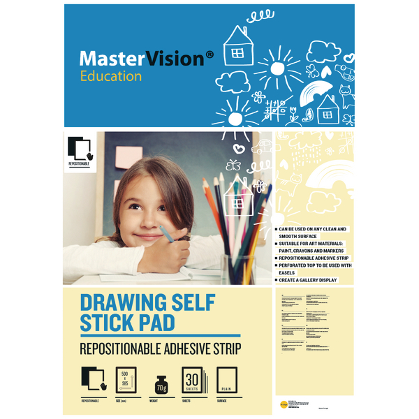 Bi-office Self Stick Mastervision Drawing Pad Plain FL1226407R