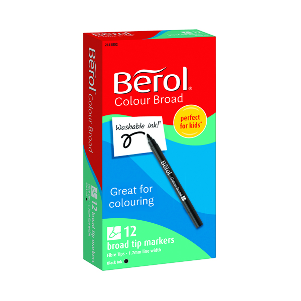 Berol Colour Broad Markers Black (12 Pack) 2141502