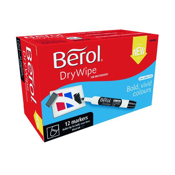 Berol Drywipe Marker Bullet Tip Black 12 Pack 1984866