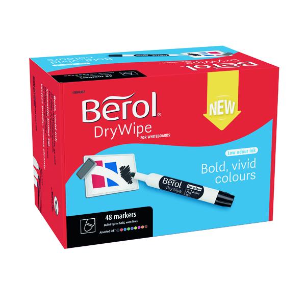Berol Drywipe Marker Bullet Tip Assorted 48 Pack 1984867