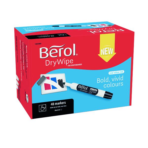 Berol Drywipe Marker Bullet Tip Black 48 Pack 1984868