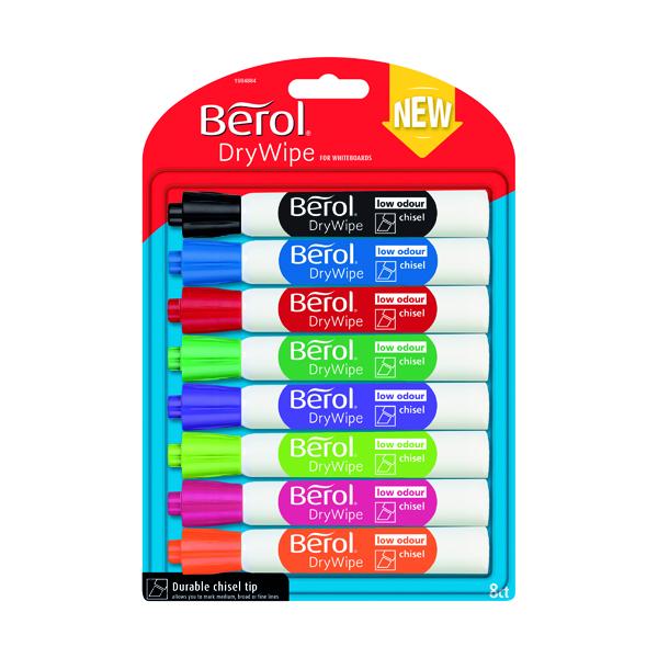 Berol Drywipe Marker Chisel Tip Assorted 8 Pack 1984884