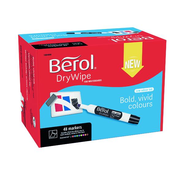Berol Drywipe Marker Chisel Tip Assorted 48 Pack 1984886