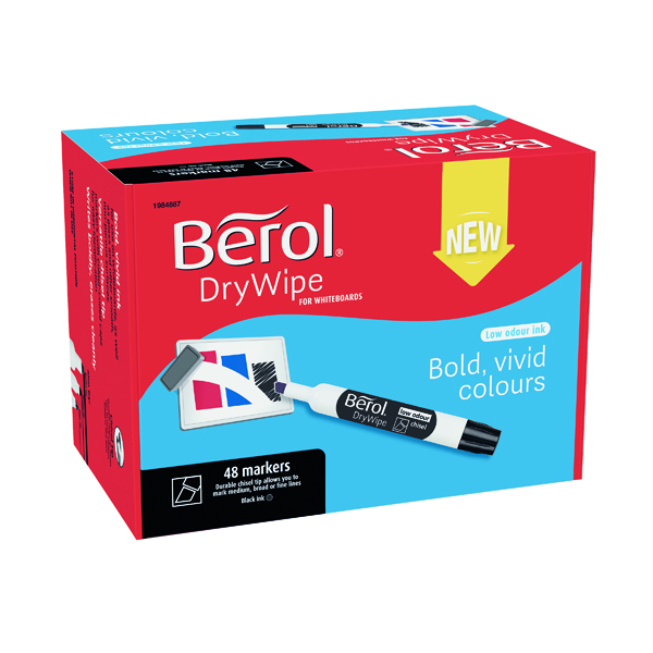 Berol Drywipe Marker Chisel Tip Black 48 Pack 1984887