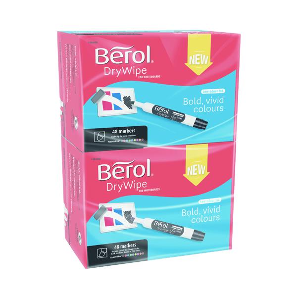 Berol Drywipe Marker Chisel Tip Assorted 96 Pack 1984888