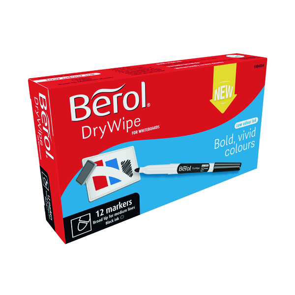 Berol Drywipe Pen Broad Black 12 Pack 1984894