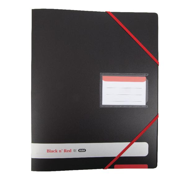 Elba Black n Red 4-Ring Binder 16mm Red Elasticated Strap A4 Black 400078863