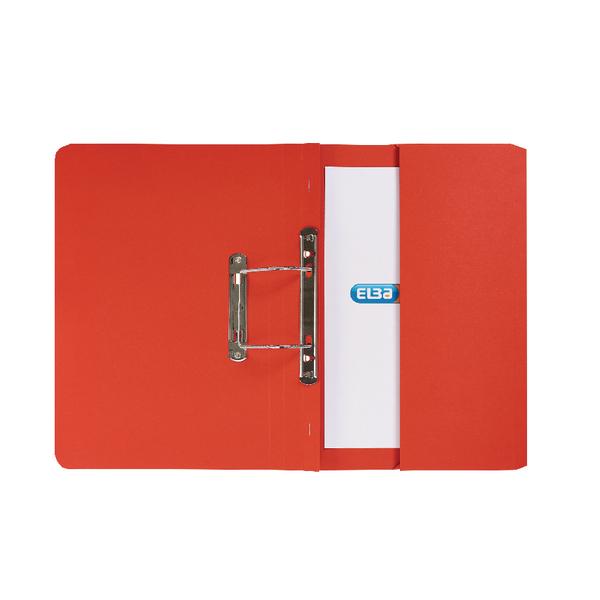 Elba Strongline Spring Pocket File Foolscap Red (25 Pack) 100090278