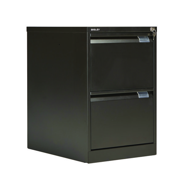 Bisley 2 Drawer Filing Cabinet Flush Fronted Black BS2E BLACK